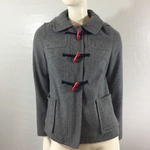Old Navy Grey Toggle Coat with Red Plaid Accent